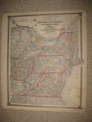 Large Antique 1875 New York Jersey Pennsylvania West & Virginia Handcolored Map
