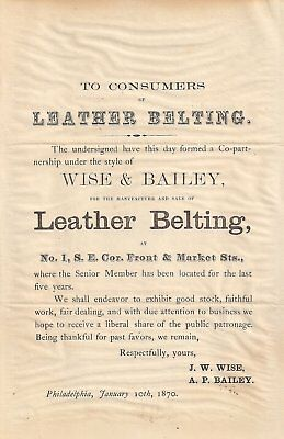 U.s. Advertising Flyer Wise & Bailey~Leather Belting Philadelphia 01/10/1870 Vf