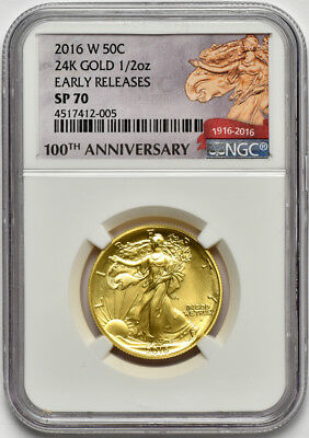 2016 W 1/2oz Gold Walking Liberty 50c NGC SP 70 Early Releases 100th Anniversary