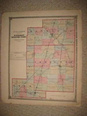 Antique 1875 Kankakee Iroquois Ford County Illinois Handcolored Map Railroad Nr
