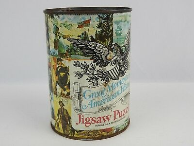 Vintage Humble Oil Metal Can for Jigsaw Puzzle Great American Moments No lid