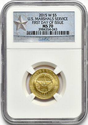2015 W $5 Gold U.S. Marshals Service Commemorative NGC MS 70 First Day of Issue