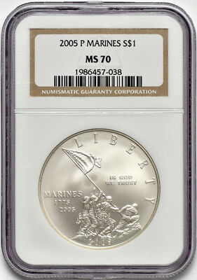 2005 P United States Marines Silver Dollar $1 Commemorative NGC MS 70 Flecks