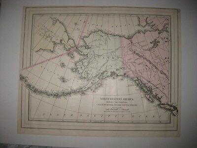 Mint Antique 1896 Northwestern America Alaska Canada Handcolored Mitchell Map Nr
