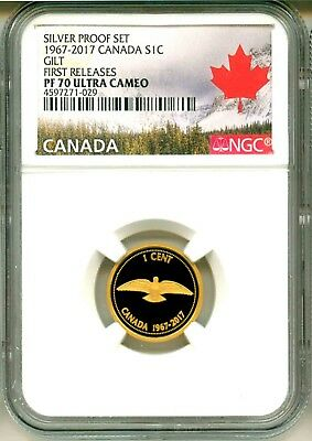 2018 Canada S1c 1967-2017 Silver Proof Set Gilt Rock Dove FR NGC PF70 UC
