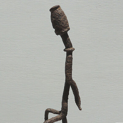 an antique old african forged iron slave esclave figural staff dogon mali #5