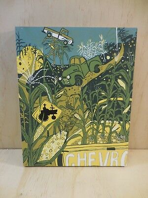 """Jenny Pope Color Reduction Woodcut On Bamboo """"invasive Corn"""" Excellent Signed"""