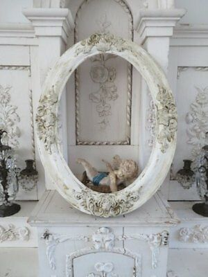 BEAUTIFUL Old Vintage French WALL FRAME BARBOLA GESSO ROSES Details Oval Chippy