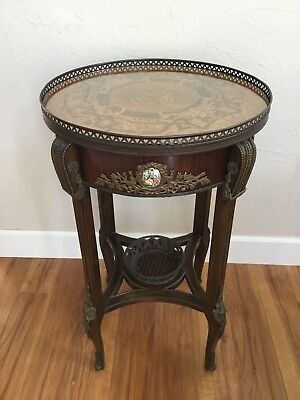 Antique French Louis Xv Inlaid Ormolu Porcelain Medallions Wood Beading Sm Table