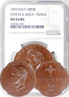 ITALY - Naples & Sicily - 1859 10 Tornesi NGC as MS-63 BN (only 3 graded higher)