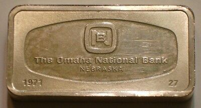 1000 Grain Silver Bar OMAHA NATIONAL BANK Nebraska FRANKLIN MINT