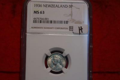 1936 New Zealand 3 Pence Silver Coin NGC Graded MS 63
