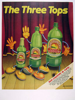 1986 Sun Country Wine Cooler dancing bottles color art vintage print Ad