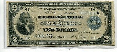 "1918 $2 ""Battle Ship"" Large Size ST. Louis National Currency Note"