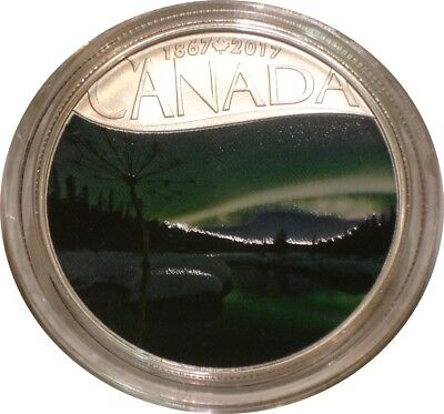 2017 Silver $10 Ten Dollars Canada AURORA BOREALIS AT McINTYRE  CREEK Gem BU