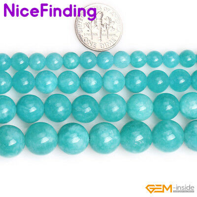 Round Amazonite Blue Color Jade Loose Stone Spacer Beads For Jewelry Making 15""