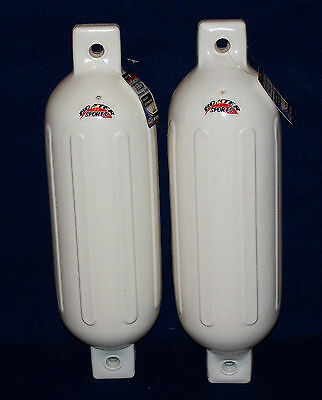 White Boat Fenders Pair 8.5'' x 27'' set of 2 Bumpers Vinyl Docking Ribbed New