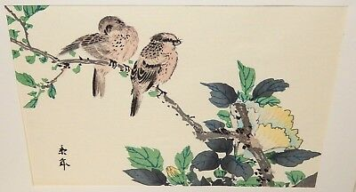 Japanese Birds In A Tree Original Watercolor Painting Signed #2