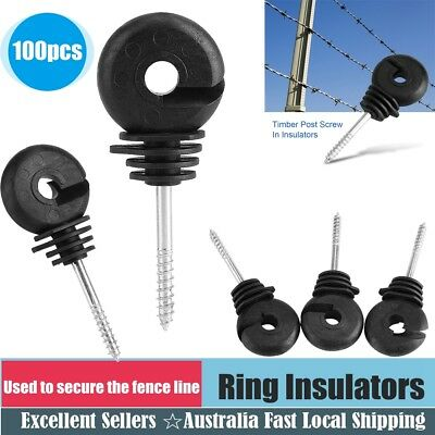 100x Screw In Electric Fence Insulator Wire Tape Wood Timber Post-Ring insulator
