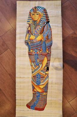 Huge Signed Handmade Papyrus Egyptian_KING Tutankhamun_Mummy Painting 32x12 inch