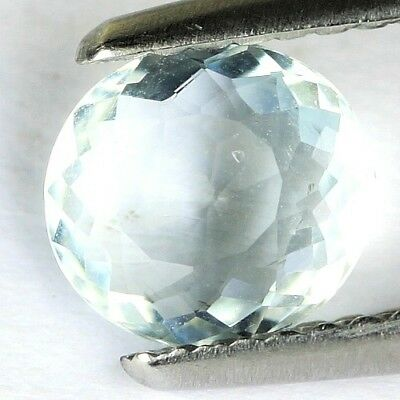 #*0.77 cts. 7.2 x 6.6 mm. UNHEATED NATURAL BLUE AQUAMARINE OVAL BRAZIL