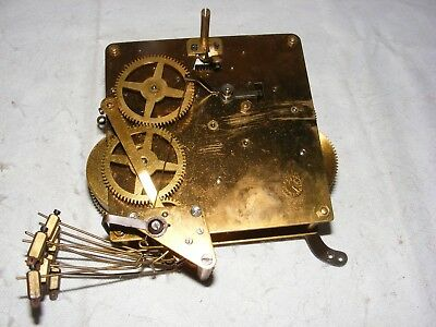 Vintage F H S Mantle Clock Brass Movement Heavy Striking Parts German Restore