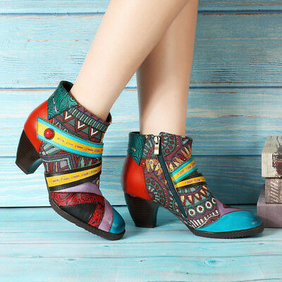 SOCOFY AU Women Winter Leather Splicing Color Match Zipper Bohemian Ankle Boots