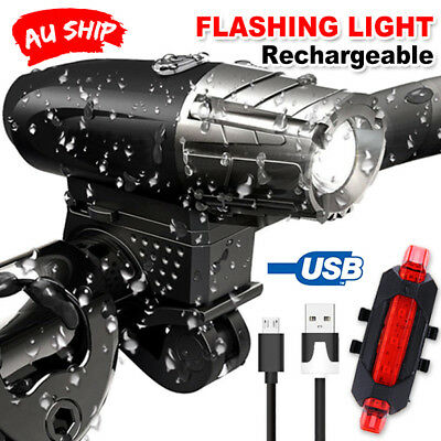 USB Rechargeable Warning Bike Lights LED Bicycle Front Rear Tail Lamp OZ