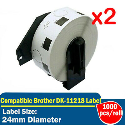 2x Rolls Compatible for Brother DK-11218 Round Label for QL700 QL800 QL1050