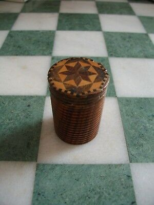 Treen Tunbridge Ware Games Counter Box. Cylindrical with ribbed side.