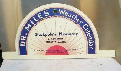 old vintageDr.Miles weather calendar Staqckpole's Pharmacy Augusta,Maine