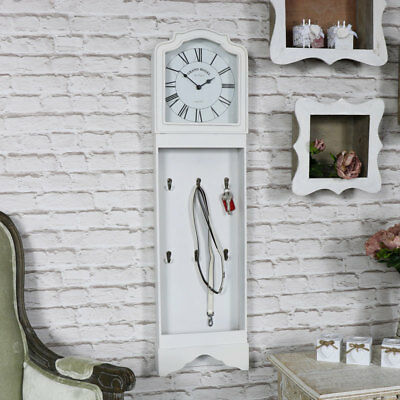 White wall mounted grandfather style clock shabby vintage chic roman numeral