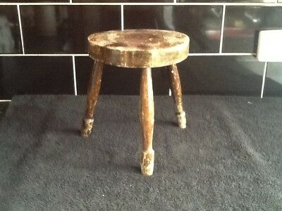 Lovely Old Shabby Chic Three Legged Wooden Milking Stool No Reserve