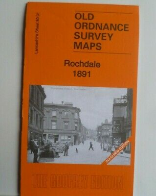 Old Ordnance Survey  Detailed Maps Rochdale  Lancashire 1891 Godfrey Coloured Ed