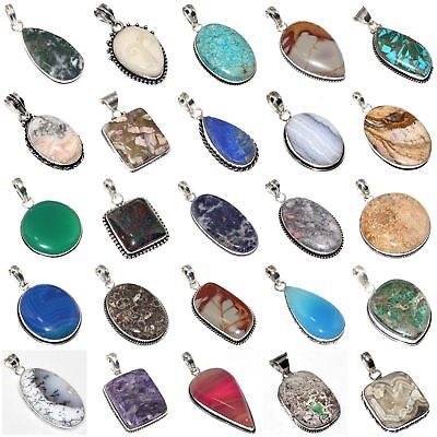 Fossil Coral Variscite Chalcedony Face Turquoise Jasper Lapis Pendant ; T7