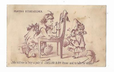 Old Trade Card J. Miller & Co SHOES Playing Store-Keeper Johnson Sioux City Iowa