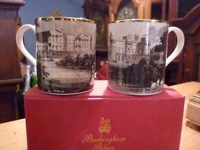 Pair Of Boxed Buckinham Palace Souvenier Mugs Never Been Used