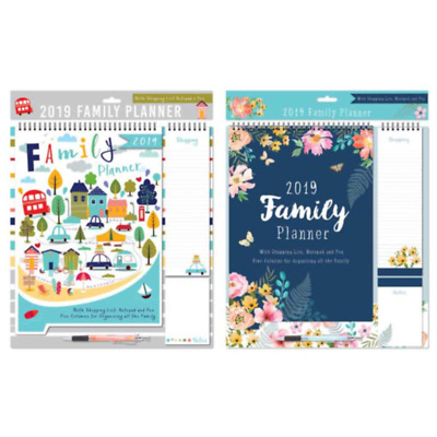 12 Month Family Planner Organiser 2019 Calendar Day To Day Pen Shopping List