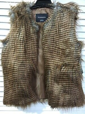 Glamsia Women's Outerwear Vest Brown Stripe Fur New without Tags