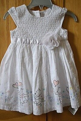 Disney Baby at GEORGE Winnie The Pooh White Dress with Pink Trim 3-6 months BNWT