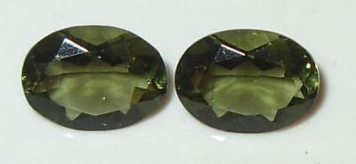 1.85ct Pair Faceted TOP QUALITY Natural Czechoslovakia Moldavite Oval Cut 8x6mm