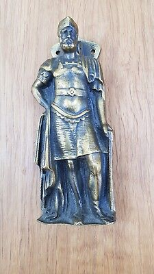 Vintage Cast Brass Door Knocker Roman Saxon Soldier Knight Antique Old 15cm