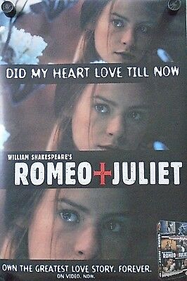 """Romeo & Juliet - Video Promo Poster - Claire Danes / Exc. new cond. 20 x 30"""""""