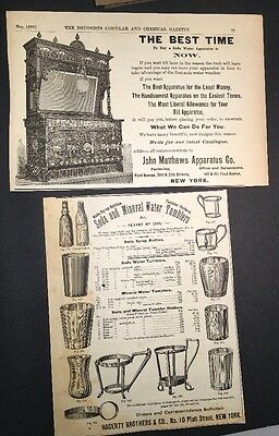 2 Different Soda Fountain  Illustrated 1892 Ad Mathews & Mineral Water Tumblers