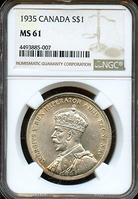 1935 NGC MS 61 Canadian Georgivs V REX Imperator Silver $1 Coin FE367