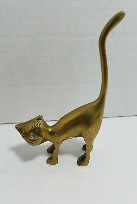 Vintage Leonard Solid Brass Standing Cat with Tail Up Figurine