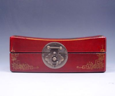 """Red Finish Butterfly Flower Painted Leather LARGE Wood Jewelry Box 7"""" #06191801"""