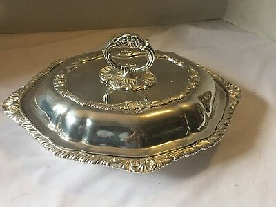 "Antique  SILVER MINTY SERVING Warming DISH W/LID, UNKNOWN HALLMARKS!!! 13"" L"