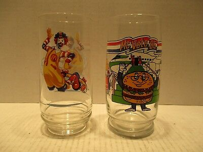 2 Mcdonalds Drinking Glasses Cups 1986 Mcvote 2002 Ronald Mcdonald On Skateboard
