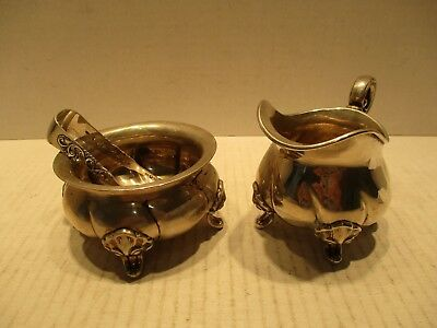 Vintage Sugar Bowl and Creamer With Sugar Tongs 830 Fine Silver Made In Norway